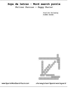 Sopa de Letras - Word Search Puzzle - Happy Easter