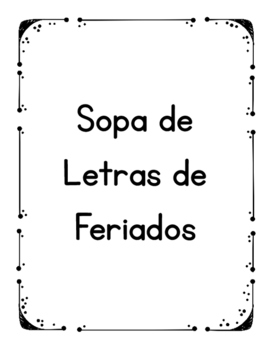 Sopa de Letras de Feriados em Portugues (Portuguese Word Search for Holidays)