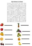 Sopa de letras con frutas / Word Search with fruits