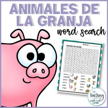 Sopa de letras de animales de la granja (Farm Animals Spanish Word Search)