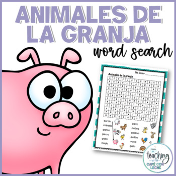 Sopa de letras de animales de la granja (Farm Animals Spanish Word Search)