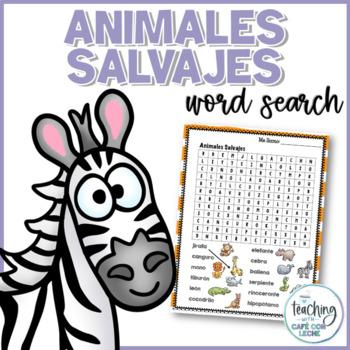 Sopa de letras de animales salvajes (Wild Animals Spanish Word Search)