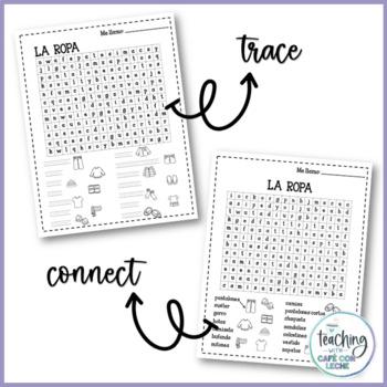 Sopa de letras de la ropa (Clothing Spanish word search)