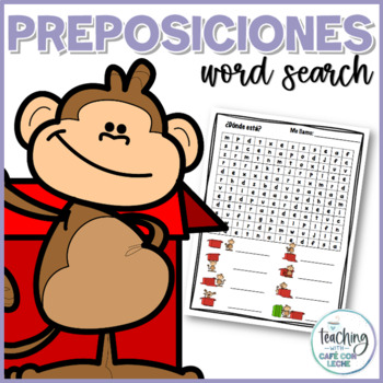 Sopa de letras de las preposiciones (Prepositions Word Search)