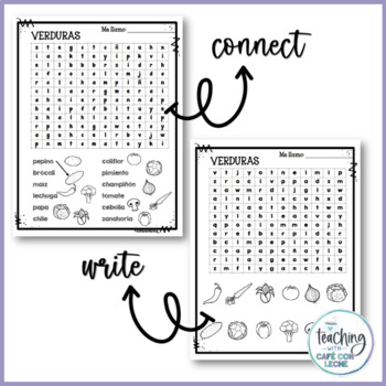 Sopa de letras de las verduras (Vegetables Spanish Word Search)