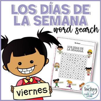 Sopa de letras de los días de la semana (Days of the week Spanish word search)