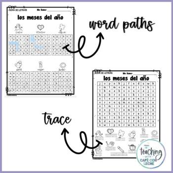 Sopa de letras de los meses del año (Months of the year Spanish word search)