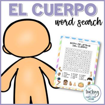 Sopa de letras del cuerpo (Body Parts Spanish Word Search)