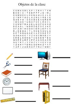 Sopa de letras objetos de la clase/ Word search objects of the classrooom