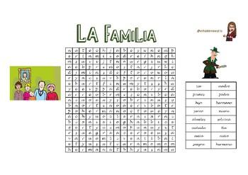 Sopa de letras sobre la familia