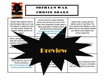 Sophia's War Choice Board Novel Study Activities Menu Book Project Tic Tac Toe