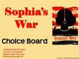 Sophia's War Choice Board Novel Study Activities Menu Book