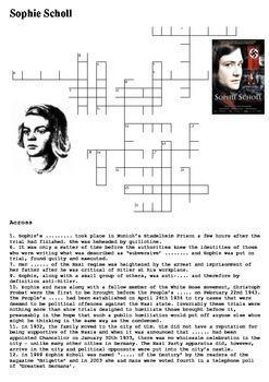 Sophie Scholl Crossword