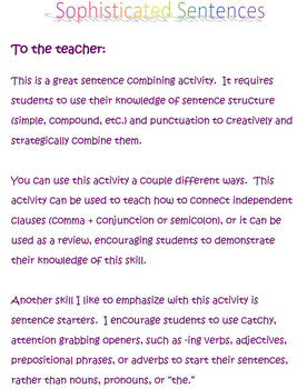 Sophisticated Sentences: A creative activity in sentence combining
