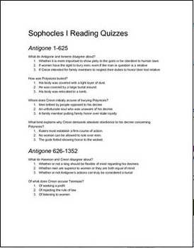 Sophocles I (The Three Theban Plays) Reading Quizzes