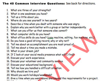 High School English Sub Plan - Answering Common Interview Questions