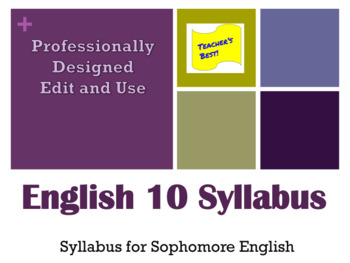 Sophomore English Syllabus & Signature Page - Edit and Use - English 10 Contract