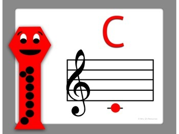 Soprano Recorder Fingering Charts with Treble Clef Staff