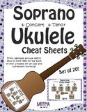 Soprano Ukulele Color-Coded Cheat Sheets