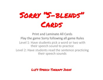 Sorry Articulation Cards - S-blends
