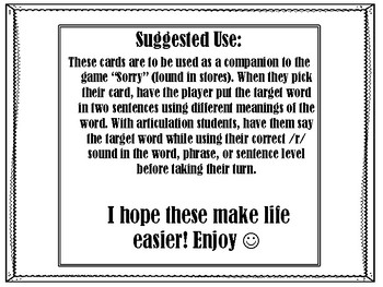 Sorry Game Cards for /r/ and multiple meaning words
