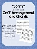 Sorry Orff Simplified Pop Music Arrangement - Guitar/Ukule