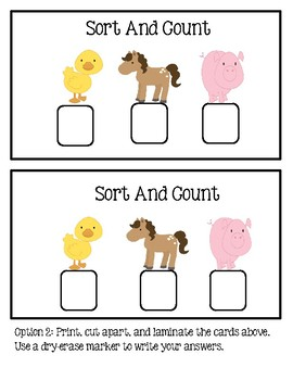 Sort And Count Farm Animals