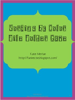 Sort By Color File Folder Game