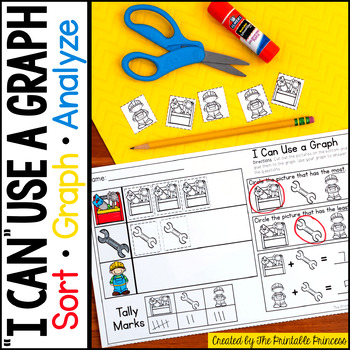 Sorting and Graphing Activities No Prep Worksheets for Kindergarten and 1st