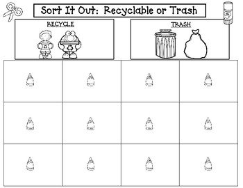 Sort It Out:  Recyclable or Trash Cut and Paste Activity