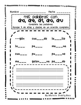 Sort It Out! Spanish Consonant Blends with dr: dra, dre, dri, dro, dru