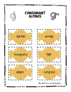 Sort It Out! Spanish Consonant Blends with gl and gr