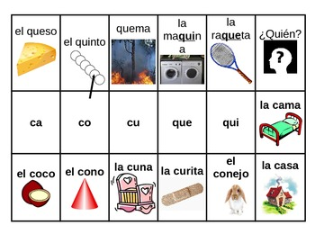 Sort Spanish Words by Syllables Q and C