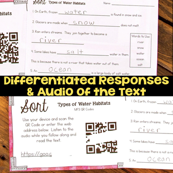 Sort Types of Water Habitats - Water on Earth Second Grade Science Stations