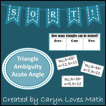 Ambiguous Case Law of Sine~Acute Angle~How Many Triangles