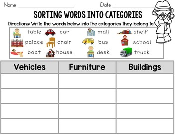 Sort Words into Categories