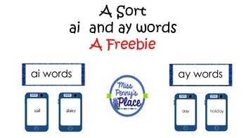 Sort ai and ay Words A FREEBIE