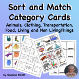 Sort and Match Picture and Word Cards in Categories K-2