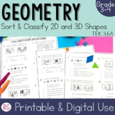 Sort and Classify 2-D and 3-D Shapes Activities