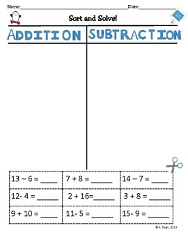 Sort and Solve! (Addition and Subtraction Sort)