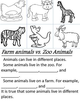 Sort and write - Farm Animals vs. Zoo Animals