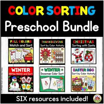 Sorting by Color Bundle for Preschool