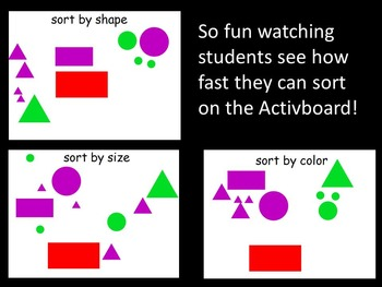 Sort by Shape Size and Color on the Activboard