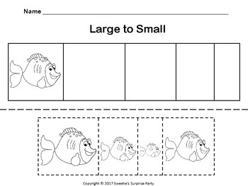 Sort by Size Activity Sheets - Color, Cut, and Paste