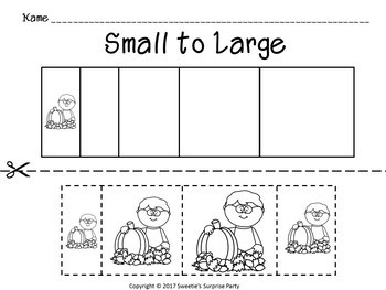 Sort by Size Activity Sheets - Color, Cut, and Paste - Autumn / Fall Theme