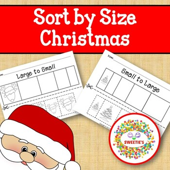 Sort by Size Activity Sheets - Color, Cut, and Paste - Christmas Theme