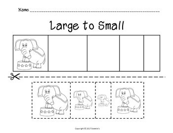Sort by Size Activity Sheets - Color, Cut, and Paste - Circus Theme
