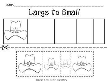 Sort by Size Activity Sheets - Color, Cut, and Paste - Cowboy Theme