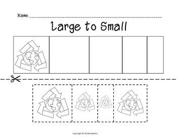 Sort by Size Activity Sheets - Color, Cut, and Paste - Earth Day Theme