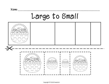 Sort by Size Activity Sheets - Color, Cut, and Paste - Easter Theme